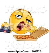 Vector of Cartoon Smiley Couch Potato Emoticon Eating Pizza and Holding a Tv Remote by Yayayoyo
