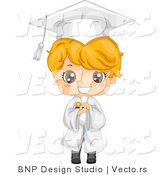 Vector of Cartoon Smiling Graduate Boy Holding a Diploma by BNP Design Studio