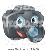 March 21st, 2018: Vector of Cartoon Smiling Happy DSLR Camera Mascot by AtStockIllustration