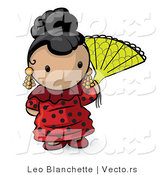 Vector of Cartoon Spanish Girl with a Fan and Red Dress by Leo Blanchette