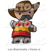 Vector of Cartoon Spanish Guy Wearing Cowboy Hat and Moustache by Leo Blanchette