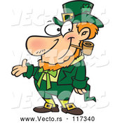 Vector of Cartoon St Patricks Day Leprechaun Presenting by Toonaday