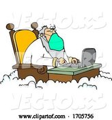 Vector of Cartoon St Peter Wearing a Mask and Working on a Laptop by Djart