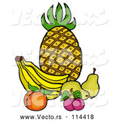 Vector of Cartoon Still Life of Pineapple, Bananas, a Peach, Plums and Pears by LaffToon