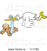 Vector of Cartoon Stork Bird Flying a Happy Black Baby Boy in a Blue Bundle by Johnny Sajem