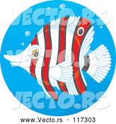 Vector of Cartoon Striped Red and White Butterflyfish in a Water Circle by Alex Bannykh
