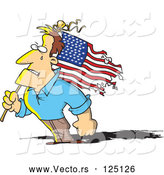 Vector of Cartoon Strong Guy Holding a Battered American Flag by Toonaday