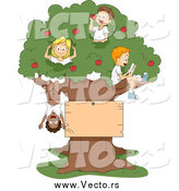 Vector of Cartoon Summer Kids Playing in an Apple Tree with a Blank Sign by BNP Design Studio