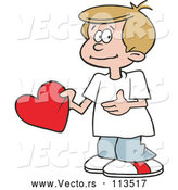 Vector of Cartoon Sweet White Boy Holding a Valentine Heart by Johnny Sajem