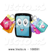 Vector of Cartoon Tablet Computer Mascot Carrying Shopping Bags by BNP Design Studio