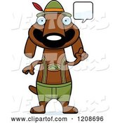 Vector of Cartoon Talking Skinny German Oktoberfest Dachshund Dog Wearing Lederhosen by Cory Thoman