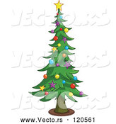 May 4th, 2018: Vector of Cartoon Tall Christmas Tree with Star and Bauble Ornaments by Yayayoyo
