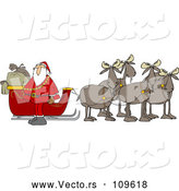 Vector of Cartoon Team of Moose Ready to Pull Santas Christmas Sleigh by Djart