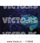 Vector of Cartoon the Cheshire Cat with Green and Blue Stripes on a Branch at Night by Pushkin