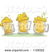 Vector of Cartoon Three Beer Mugs with Froth by BNP Design Studio