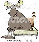 Vector of Cartoon Tired Moose Sitting on a Bed by Djart