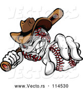 Vector of Cartoon Tough Cowboy Baseball Mascot Holding a Bat and a Ball by Chromaco