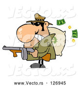 Vector of Cartoon Tough Mobster Holding a Machine Gun and Money Sack by Hit Toon