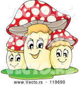 Vector of Cartoon Trio of Happy Mushrooms by Visekart
