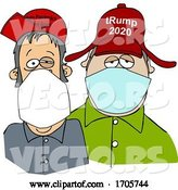 Vector of Cartoon Trump Supporters Wearing Covid-19 Face Masks by Djart