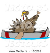 Vector of Cartoon Turkey Bird Paddling a Canoe by Djart
