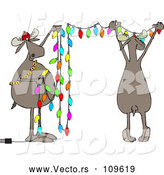 Vector of Cartoon Two Festive Moose Hanging Christmas Lights by Djart