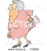 Vector of Cartoon Uncomfortable Old Lady Passing Gas by Djart