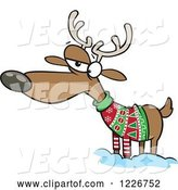 Vector of Cartoon Unhappy Reindeer in an Ugly Christmas Sweater by Toonaday