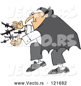 Vector of Cartoon Vampire Releasing Bats by Djart