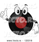 Vector of Cartoon Vinyl Record Mascot Holding a Thumb up by BNP Design Studio