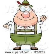 Vector of Cartoon Waving Chubby Oktoberfest German Guy by Cory Thoman