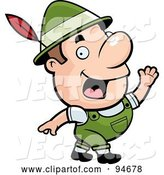 Vector of Cartoon Waving Oktoberfest Guy with a Feather in His Hat by Cory Thoman