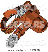 Vector of Cartoon Western Cowboy Revolver Gun and Bullets in a Holster by Pushkin
