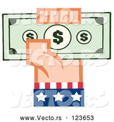 Vector of Cartoon White American Hand Holding up Cash by Hit Toon