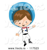 Vector of Cartoon White Astronaut Boy Floating in a Space Suit by Peachidesigns