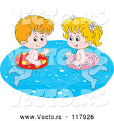 Vector of Cartoon White Boy and Girl Swimming with Inner Tubes by Alex Bannykh