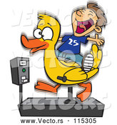 Vector of Cartoon White Boy Having Fun on a Duck Ride by Toonaday