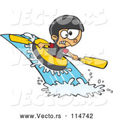 Vector of Cartoon White Boy White Water Rafting by Toonaday
