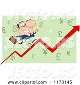Vector of Cartoon White Business Man Running up a Success Arrow over Green by Hit Toon