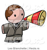 Vector of Cartoon White Businessman Announcing with Megaphone by Leo Blanchette