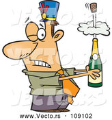 Vector of Cartoon White Businessman Holding an Exploding Bottle of Champagne at a New Year Party by Toonaday