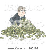 Vector of Cartoon White Businessman in a Pile of Cash Money by Alex Bannykh