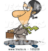 Vector of Cartoon White Businessman on a Longboard by Toonaday