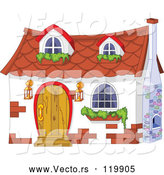 Vector of Cartoon White Cottage with Window Planters by Pushkin