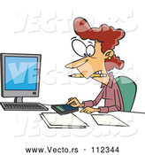 Vector of Cartoon White Female Accountant Working Hard at Her Desk by Toonaday
