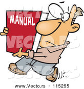 Vector of Cartoon White Guy Carrying a Big Manual by Toonaday