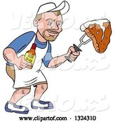 Vector of Cartoon White Guy Holding a Bottle of Bbq Sauce and a Steak by LaffToon