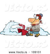 Vector of Cartoon White Guy Operating a Snow Blower on a Winter Day by Toonaday