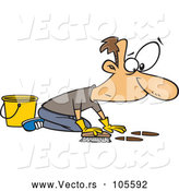 Vector of Cartoon White Guy Scrubbing a Floor by Toonaday