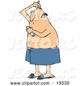 Vector of Cartoon White Guy Wrapped in a Towel, Spraying Deodorant on His Hairy Armpits After Getting out of the Shower by Djart